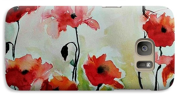 Galaxy Case featuring the painting Poppies Meadow - Abstract by Ismeta Gruenwald
