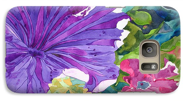 Galaxy Case featuring the painting Popping Petunias by Debi Singer