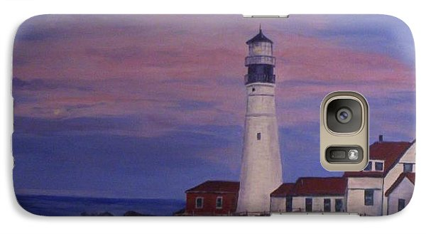 Galaxy Case featuring the painting Portland Head Lighthouse At Dawn by Julie Brugh Riffey