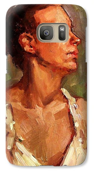 Galaxy Case featuring the painting Portrait Of A Stern And Distanced Hardworking Woman In Light Summer Dress With Deep Shadows Dramatic by M Zimmerman MendyZ