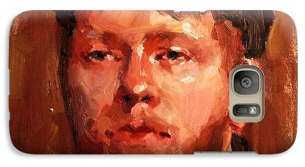 Galaxy Case featuring the painting Portrait Of Irish Fisherman With Weary Sad Eyes And Hard Work Face Deep Lines And Lost Souls Cap by M Zimmerman MendyZ