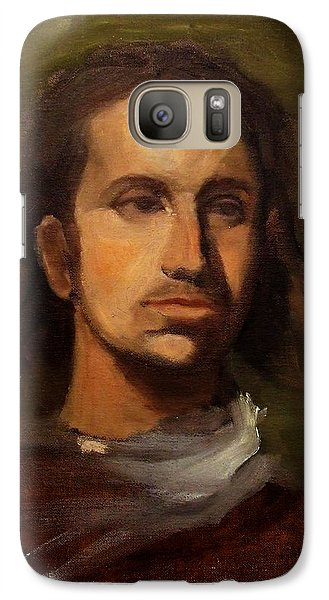 Galaxy Case featuring the painting Portrait Young European Shepard Boy Noble Aristocrat Tired Face Enigmatic Sad Eyes Green Brown by M Zimmerman MendyZ