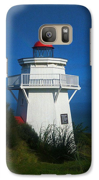 Galaxy Case featuring the photograph Pouto Lighthouse With Rainbow New Zealand by Mark Dodd