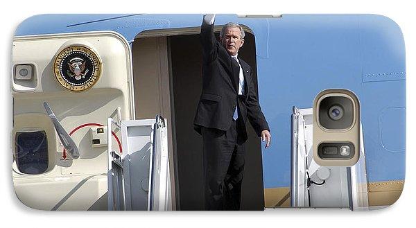 George Bush Galaxy S7 Case - President George Bush Waves Good-bye by Stocktrek Images
