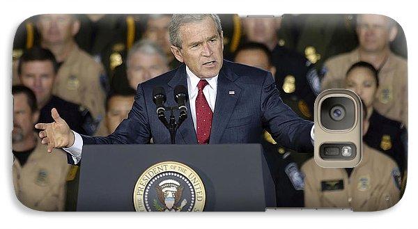 George Bush Galaxy S7 Case - President George W. Bush Speaks by Stocktrek Images
