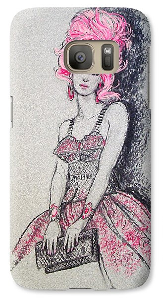 Galaxy Case featuring the drawing Pretty In Pink Hair by Sue Halstenberg