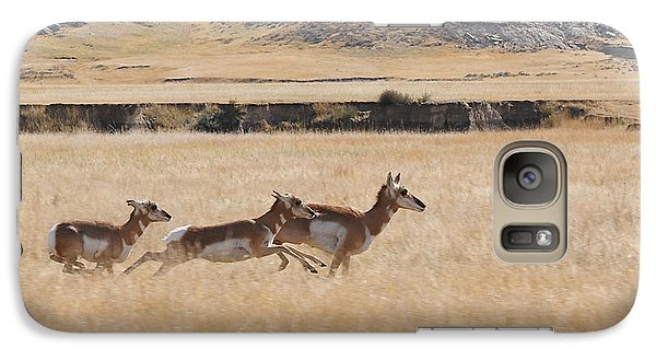 Galaxy Case featuring the photograph Pronghorn Antelopes On The Run by Art Whitton