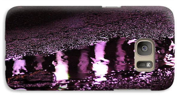 Galaxy Case featuring the photograph Puddle In Purple Reflection by Carolina Liechtenstein