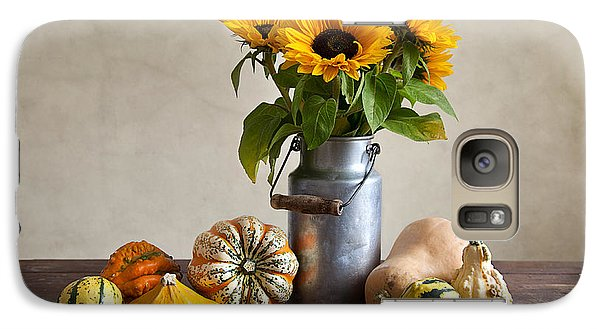 Sunflower Galaxy S7 Case - Pumpkins And Sunflowers by Nailia Schwarz