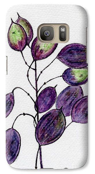 Galaxy Case featuring the drawing Purple Honesty Seed Heads by Barbara Moignard