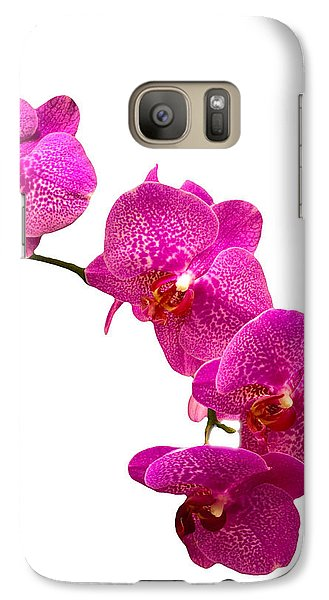 Galaxy Case featuring the photograph Purple Orchid On White by Michael Waters