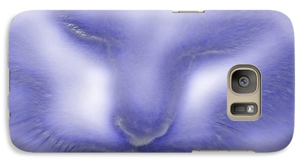 Galaxy Case featuring the photograph Digital Puss In Blue by Linsey Williams