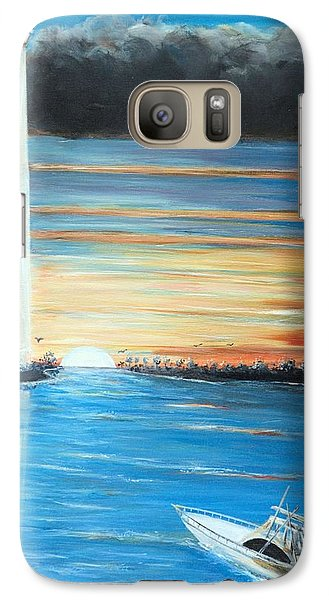 Galaxy Case featuring the painting Put-in-bay Perry's Monument - International Peace Memorial  by Bernadette Krupa