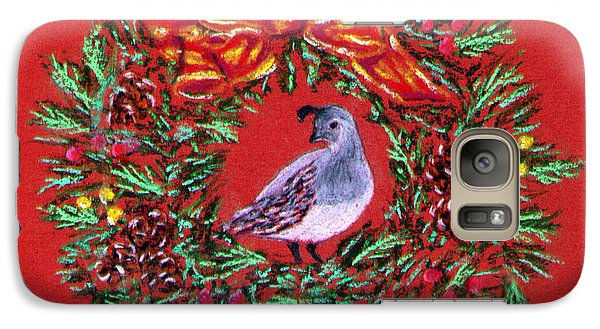 Galaxy Case featuring the painting Quail Holiday Greeting Card by Judy Filarecki