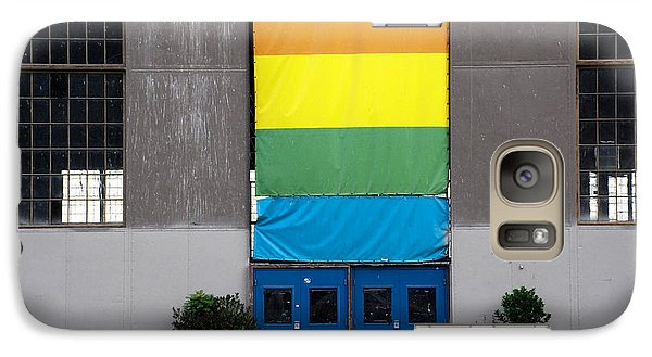 Galaxy Case featuring the photograph Rainbow Banner Building by Kathleen Grace