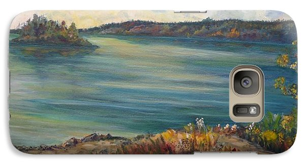 Galaxy Case featuring the painting Rainy Lake Michigan by Julie Brugh Riffey