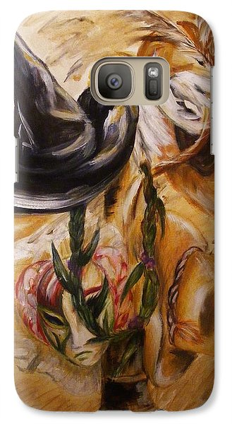 Galaxy Case featuring the painting Real Women Wear Many Hats by Karen  Ferrand Carroll