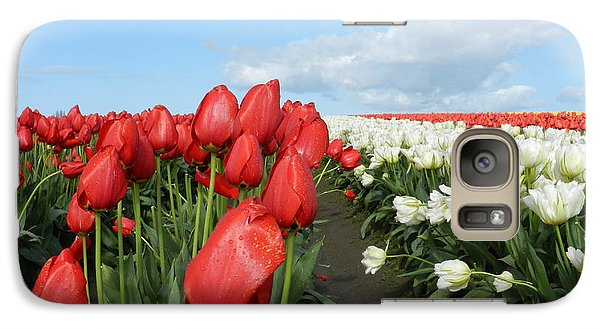 Galaxy Case featuring the photograph Red And White Tulips by Karen Molenaar Terrell