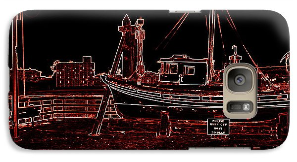 Galaxy Case featuring the photograph Red Electric Neon Boat On Sc Wharf by Garnett  Jaeger