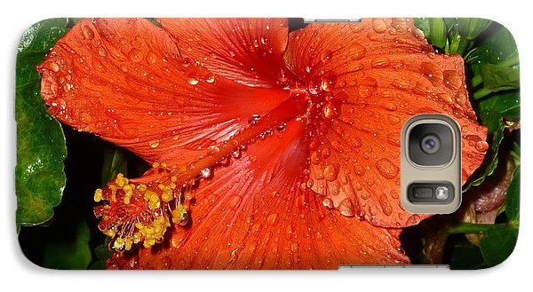 Galaxy Case featuring the photograph Red Hibiscus After The Rain by Renee Trenholm