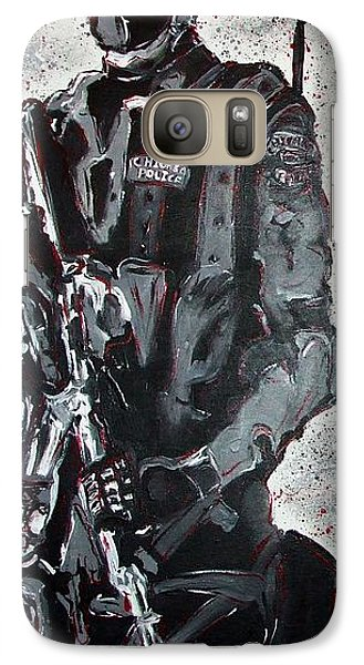 Galaxy Case featuring the painting Red Marble Full Length Figure Portrait Of Swat Team Leader Alpha Chicago Police Full Uniform War Gun by M Zimmerman MendyZ