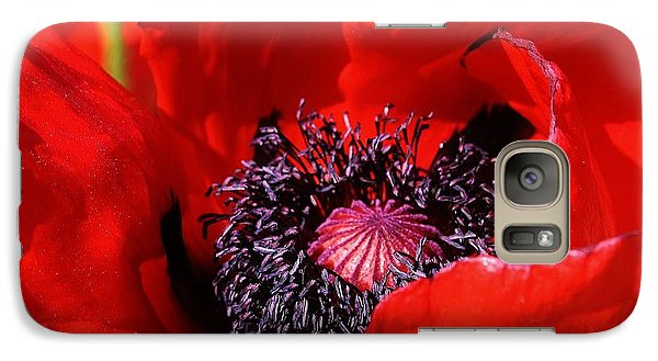 Galaxy Case featuring the photograph Red Poppy Close Up by Bruce Bley