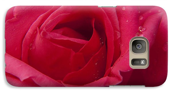 Galaxy Case featuring the photograph Red Rose With Rain Tears by Darleen Stry