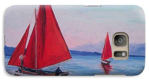 Galaxy Case featuring the painting Red Sails On Irish Coast by Julie Brugh Riffey