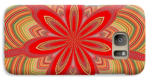 Galaxy Case featuring the digital art Red Star Brocade by Alec Drake