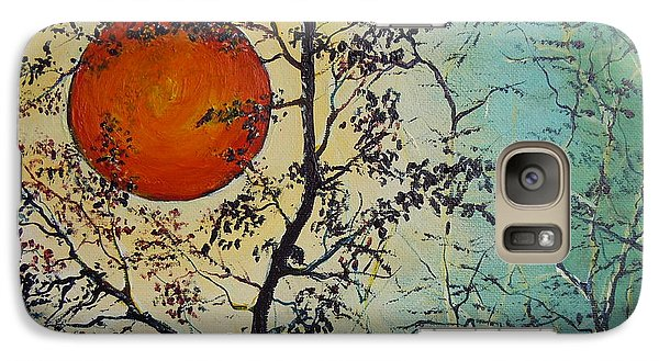 Galaxy Case featuring the painting Red Sun A Red Moon by Dan Whittemore