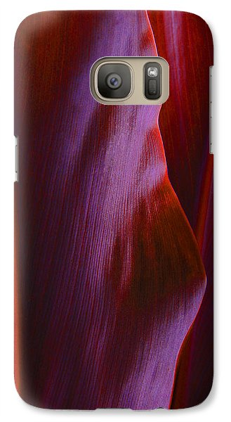 Galaxy Case featuring the photograph Red Ti Leaves - Natures Abstract Shapes by Kerri Ligatich