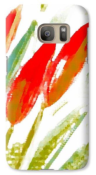 Galaxy Case featuring the digital art Red Tulips by Barbara Moignard