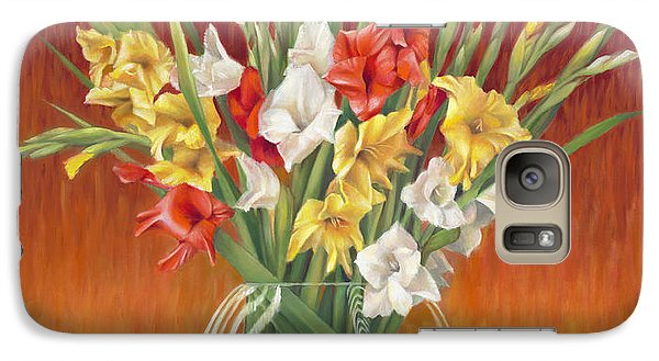 Galaxy Case featuring the painting Red White And Yellow Gladiolus by Nancy Tilles