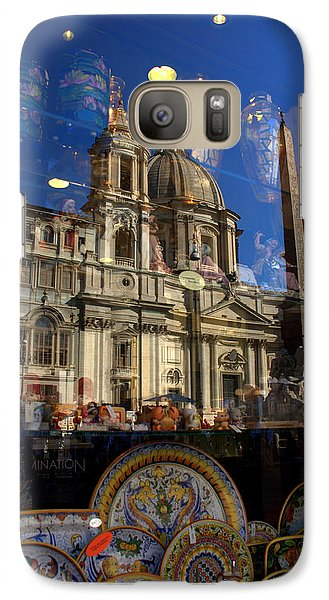 Galaxy Case featuring the photograph Reflection Piazza Navona by Caroline Stella