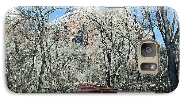 Galaxy Case featuring the photograph Road Through Zion Canyon by Bob and Nancy Kendrick