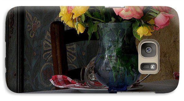 Galaxy Case featuring the photograph Roses In Blue Glass Vase by Lainie Wrightson