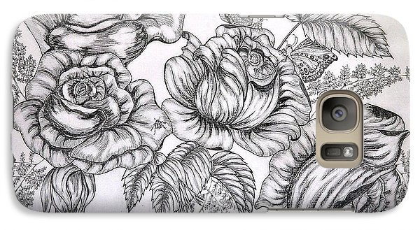 Galaxy Case featuring the drawing Roses by Sylvie Leandre