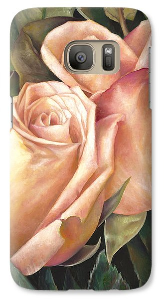 Galaxy Case featuring the painting Rosey Embrace by Nancy Tilles