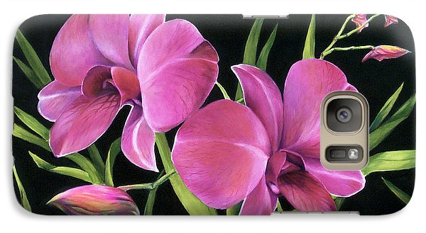 Galaxy Case featuring the painting Royal Pink Orchids by Nancy Tilles