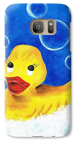 Galaxy Case featuring the painting Rubber Ducky by Sarah Farren