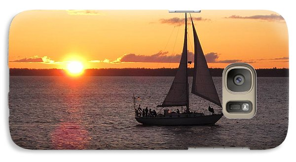 Galaxy Case featuring the photograph Sailboat At Sunset by Karen Molenaar Terrell