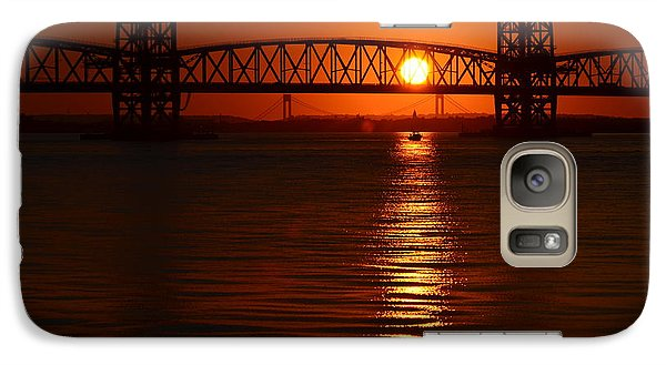 Galaxy Case featuring the photograph Sailboat Bridges Sunset by Maureen E Ritter
