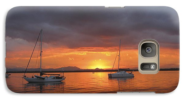Galaxy Case featuring the digital art Sailboats At Anchor by Anne Mott