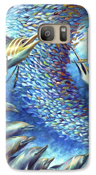 Galaxy Case featuring the painting Sailfish Plunders Baitball I - Marlin And Dolphin by Nancy Tilles