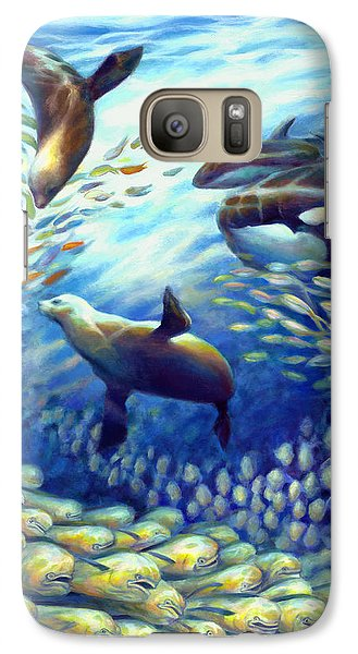 Galaxy Case featuring the painting Sailfish Plunders Baitball IIi - Dolphin Fish Seals And Whales by Nancy Tilles