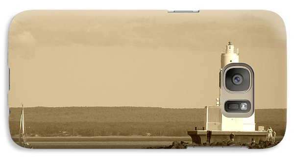 Galaxy Case featuring the photograph Sailing By The Marquette Presque Isle Lighthouse by Mark J Seefeldt