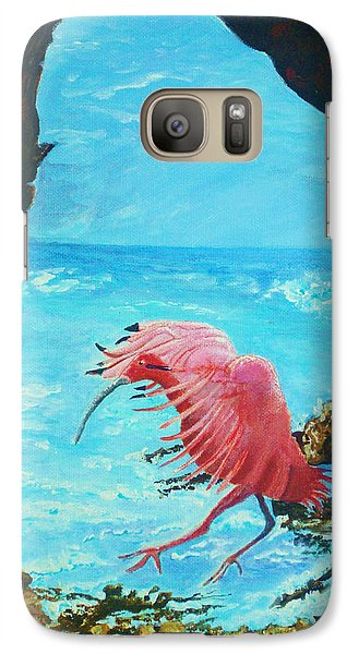 Galaxy Case featuring the painting Scarlet Ibis Landing by Joy Braverman
