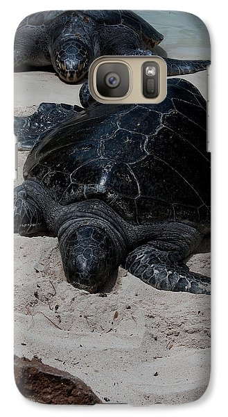 Galaxy Case featuring the photograph Sea Turtles by Karen Harrison