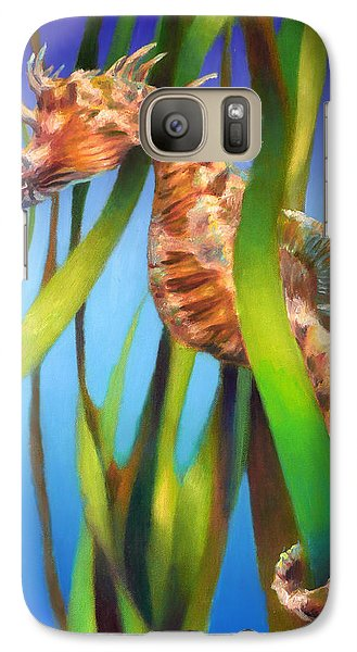 Galaxy Case featuring the painting Seahorse II Among The Reeds by Nancy Tilles