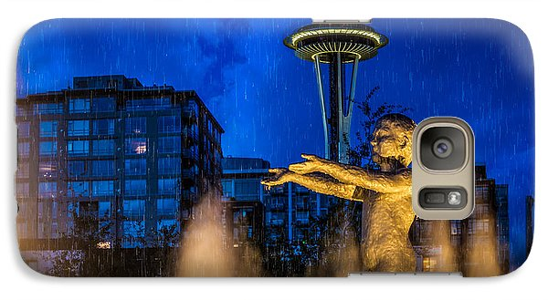 Galaxy Case featuring the photograph Seattle Rain Boy by Ken Stanback